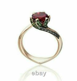 1.26ct Ruby Engagement Beauty of Beast Rose Ring Disney In 14k Rose Gold Over