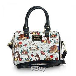 Beauty and the Beast Tattoo Print Purse Handbag Loungefly Shoulderbag NEW