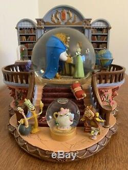 Disney 1991 Beauty And The Beast Library Musical Blower Snow Globe