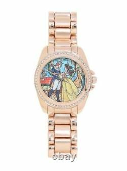 Disney Beauty And The Beast Movie Princess Belle Bling Gold Stained Glass Watch