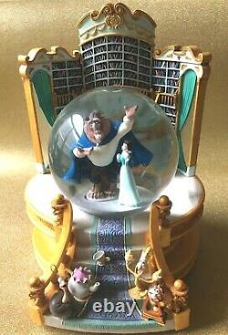 Disney Beauty and the Beast Musical Snow Globe Belle Library 1991 Retired RARE