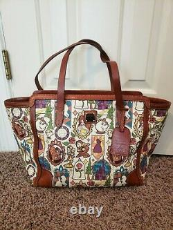 Disney Dooney & Bourke Beauty and the Beast large shopper tote bag purse USED