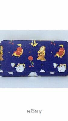 Disney Dooney & and Bourke Beauty the Beast Wristlet Wallet Lumiere Cogsworth E3