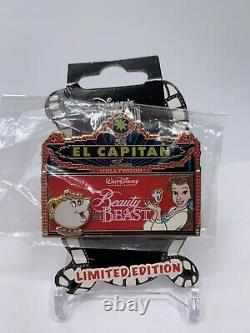 Disney El Capitan Beauty & the Beast LE 150 Red Marquee Pin DSF DSSH Belle Chip