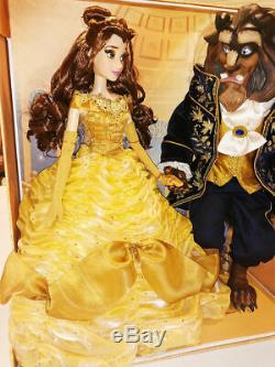 Disney Limited Edition Beauty And The Beast Platinum Doll Set COA #132 of 500