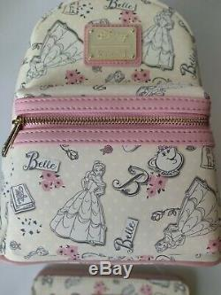 Disney Loungefly BELLE Cream & Pale Pink Backpack & Wallet Beauty & The Beast