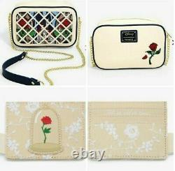 Disney Loungefly Beauty and the Beast Purse Crossbody Bag & Cardholder NEW