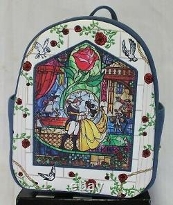 Disney Loungefly Beauty and the Beast Stained Glass Belle Mini Backpack NWT