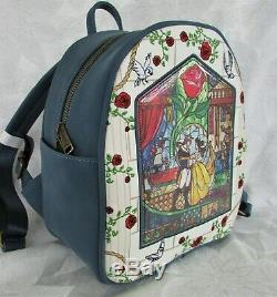 Disney Loungefly Beauty & the Beast Mini Backpack Stained Glass & Cardholder NWT