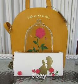 Disney Loungefly Beauty & the Beast Rose Mini Backpack & Wallet Enchanted NWT