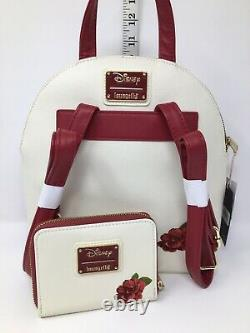Disney Loungefly Bold as a Rose Beauty and the Beast Belle Mini Backpack Wallet