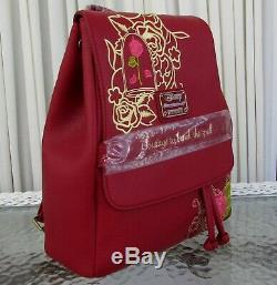 Disney Loungefly Enchanted Rose Backpack & Wallet Beauty & the Beast NWT