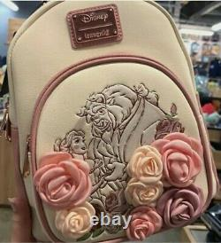 Disney Loungefly Rose Floral Beauty and the Beast Belle Mini BackpackIN HAND