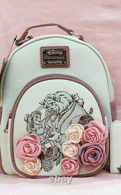 Disney Loungefly Rose Floral Beauty and the Beast Belle Mini Backpack