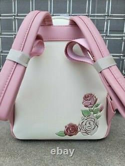 Disney Loungefly Rose Floral Beauty and the Beast Belle Mini Backpack NWT