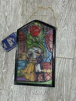 Disney Parks 2021 Beauty And The Beast Stained Window Glass Home Wall Decor New