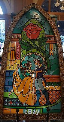 Disney Parks Beauty and The Beast Stained Glass Window Frame Wall Art Brand New