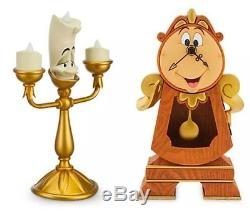 Disney Parks Beauty & the Beast Cogsworth Clock and Lumiere Light Up Figurine