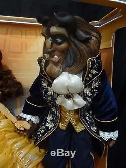 Disney Store Beauty And The Beast Platinum Doll Set LE Of 500 COA #77 NEW! 2016