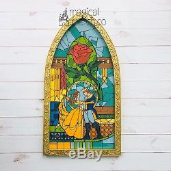 Disney World Parks Exclusive Beauty And The Beast Stained Glass Window Frame 23