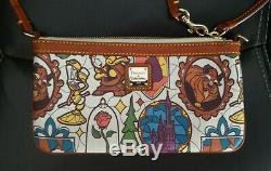 Dooney & Bourke Beauty and the Beast Disney Wristlet Belle Lumiere castle rose