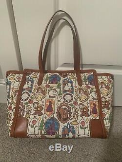 EUC Disney Dooney & Bourke Beauty & the Beast Large Shopper Tote Bag FREE WALLET