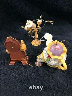 Jim Shore / Disney Traditions Beauty and the Beast Holiday Ornament Set MINT
