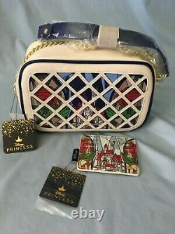 Loungefly Beauty and the Beast Stained Glass Crossbody Bag Purse & Card Holder