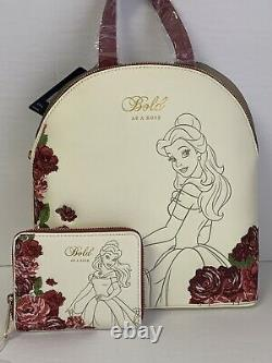 Loungefly Disney Beauty And The Beast Belle Roses Backpack And Wallet Set