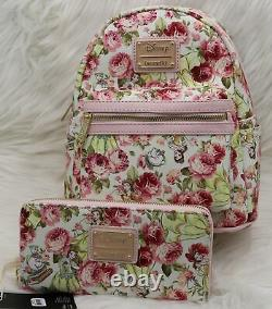 Loungefly Disney Beauty And The Beast Floral Backpack Wallet Bag Set