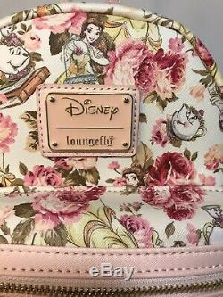 Loungefly Disney Beauty And The Beast Floral Mini Backpack NWT