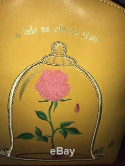 Loungefly Disney Beauty And The Beast Rose Mini Backpack & Wallet NWT