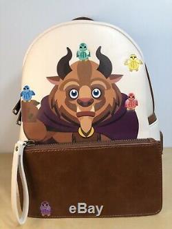 Loungefly Disney Beauty & The Beast Chibi Mini Convertible Backpack NWT