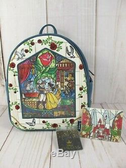 Loungefly Disney Beauty & The Beast Stained Glass Backpack & Cardholder NWT