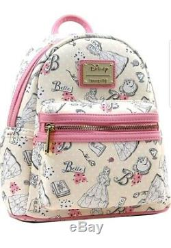 Loungefly Disney Beauty and the Beast Belle Pink Allover Backpack & Wallet Set