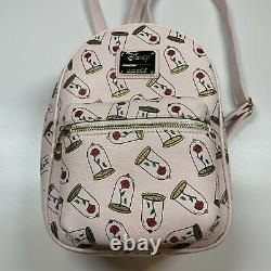 Loungefly Disney Beauty and the Beast Enchanted Rose Pink Mini Backpack