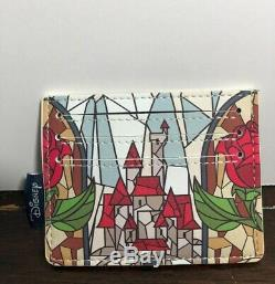 Loungefly Disney Beauty and the Beast Stained Glass Backpack Cardholder NWT