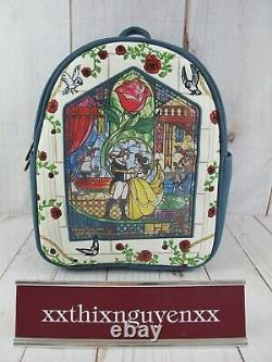 Loungefly Disney Beauty and the Beast Stained Glass Backpack NWT