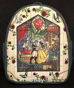 Loungefly Disney Beauty and the Beast Stained Glass Mini Backpack NWT