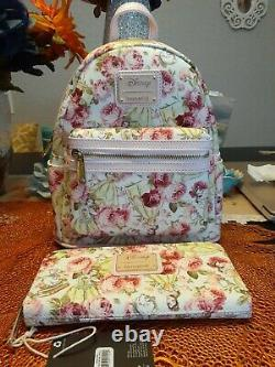 Loungefly Disney Beauty &the Beast Belle Floral Mini Backpack Wallet