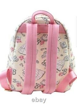 Loungefly Disney Beauty & the Beast Belle Pink Allover Backpack & Wallet Set #01