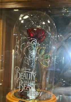 NEW Disney Arribas Beauty & the Beast Enchanted Life Size Rose Glass Dome