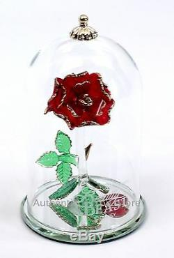 NEW Disney Arribas Brothers Beauty & the Beast Enchanted Rose 5.5 Glass Dome