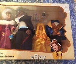NEW Disney Store Beauty and the Beast Deluxe Doll Set Belle Gaston Princess RARE