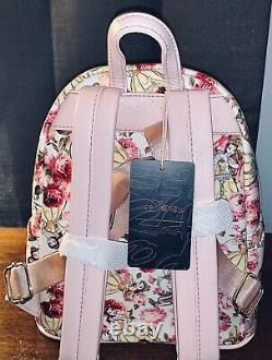 NWT Loungefly Disney Beauty And The Beast Floral Mini Backpack Wallet SET