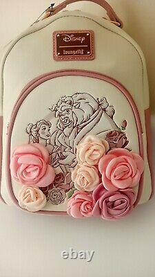 New Disney Loungefly Rose Floral Flower Beauty & The Beast Belle Mini Backpack