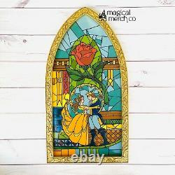 New Disney Parks Beauty And The Beast Stained Glass Window Figure 23 Tall