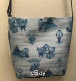New Harveys Disney Beauty & Beast Blue Toile Seatbelt Bag Streamline Crossbody