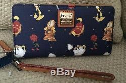 Nwt Dooney & Bourke Disney Beauty & The Beast Wristlet Wallet Rose Mrs Potts
