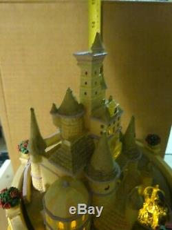RARE DISNEY Beauty and the Beast Hourglass Snow Globe Musical & Lights